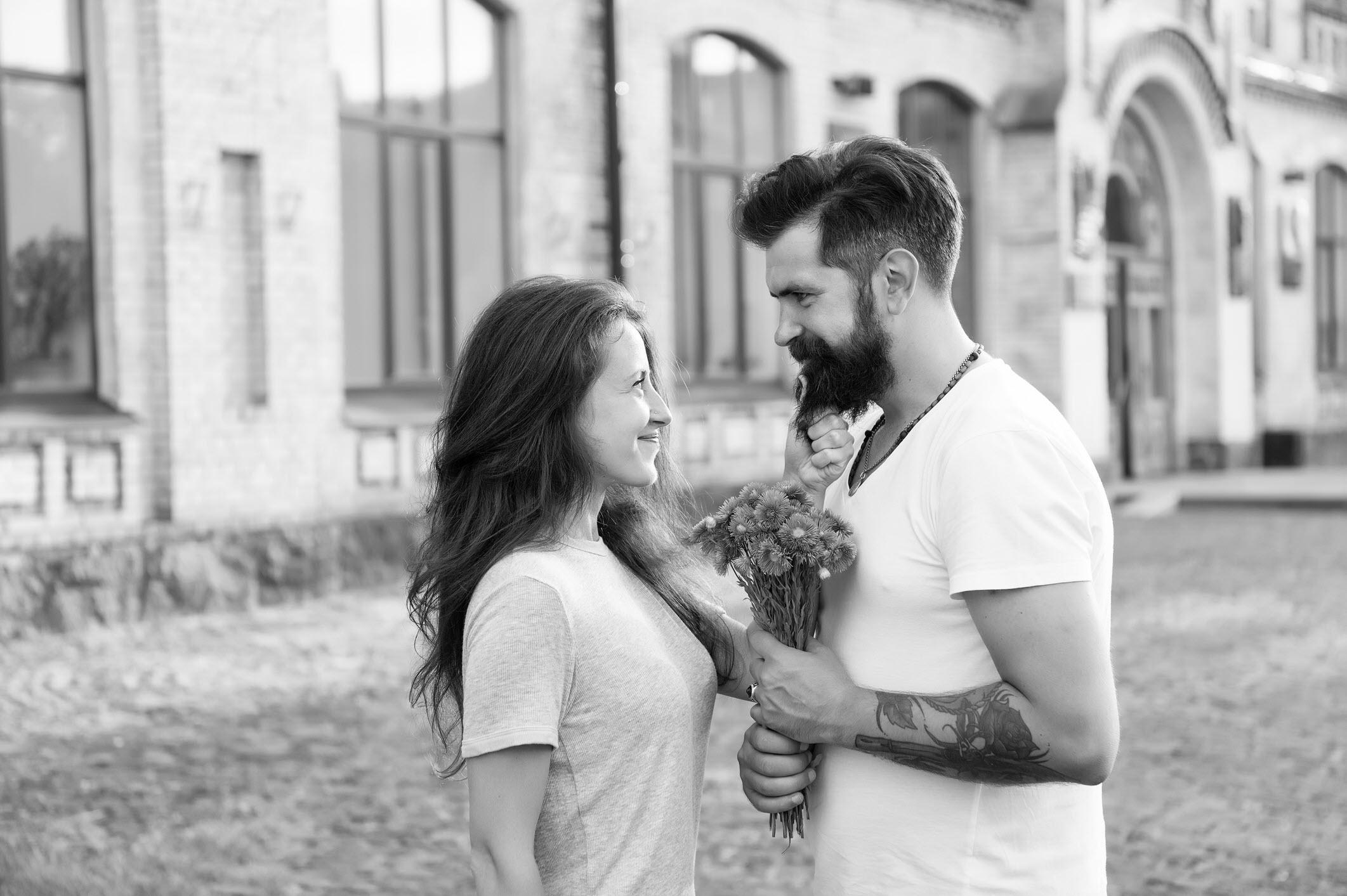 Couple in love happy celebrate anniversary.