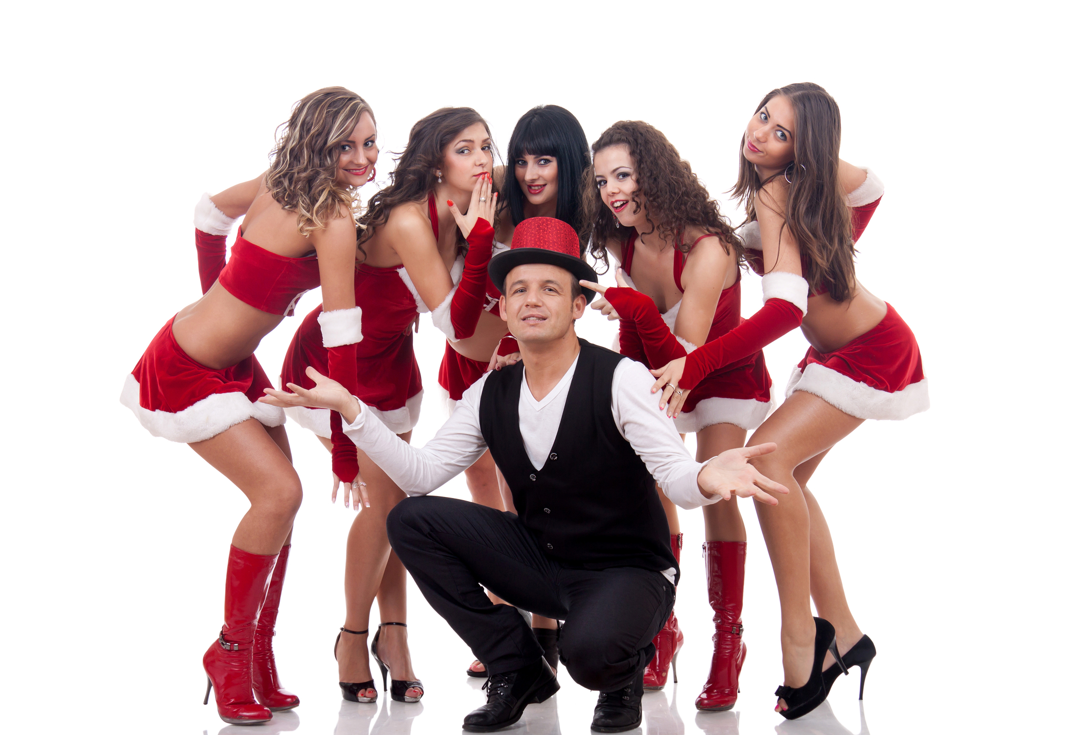 Group of santa women with a young man