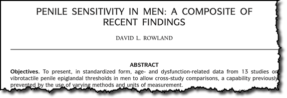 PENILE SENSITIVITY IN MEN: A COMPOSITE OF RECENT FINDINGS