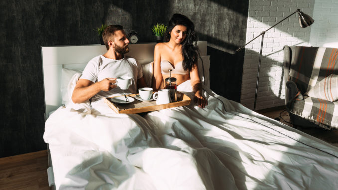 Beautiful couple in bed.