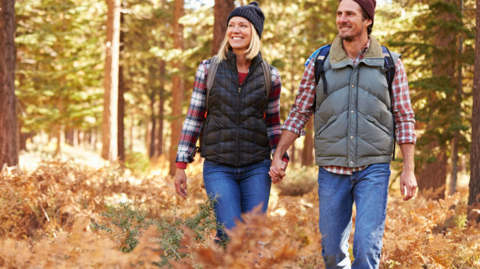 Couple holding hands walking in a forest