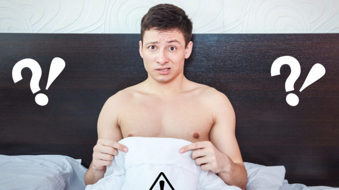Young man thinking about impotency problems and wondering about prostate trouble , Rejected man feeling shame of his erection failure