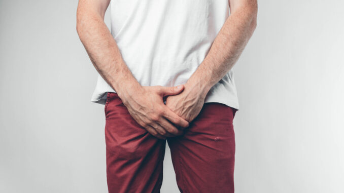 Caucasian man in white T-shirt and burgundy pants. Holds his hands on groin.