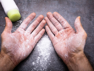 Powder On Man`s Hand
