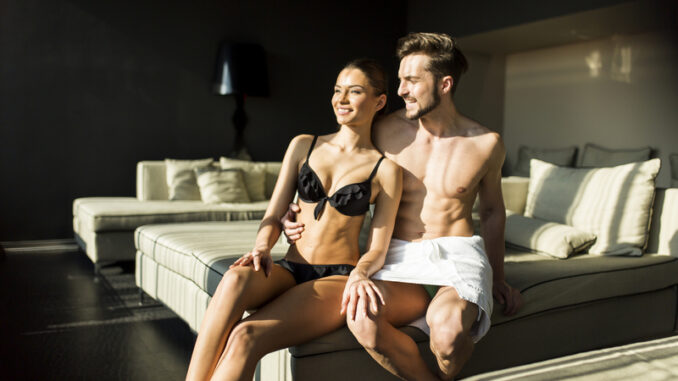Young couple relaxing in the room