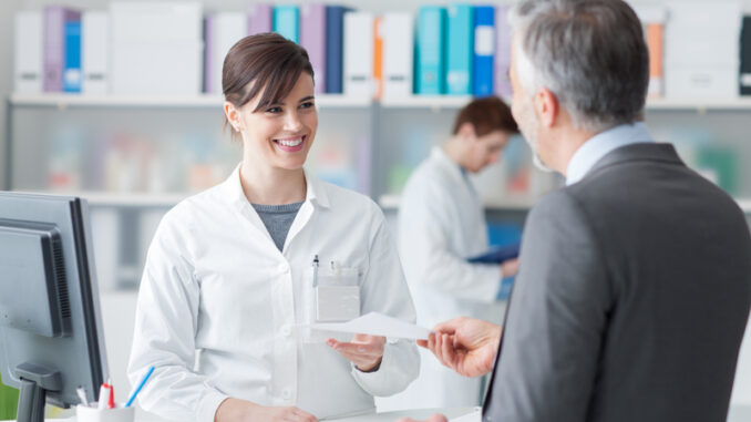 Male customer at the pharmacy