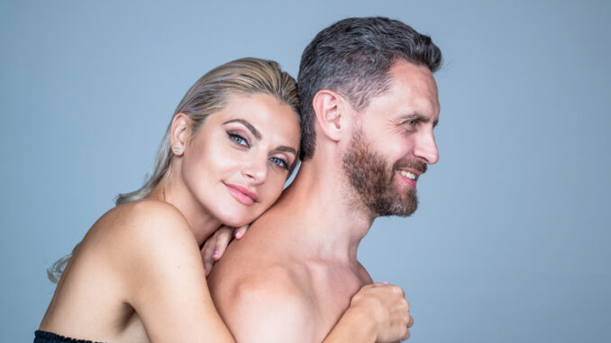 happy couple in love of undressed men and women embracing, relations.